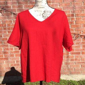 Flax red linen V neck short sleeve top Med 10-14
